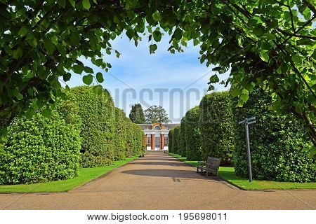 LONDON,ENGLAND - May 24,2017: picturesque green alley  in Kensington Gardens, London, UK