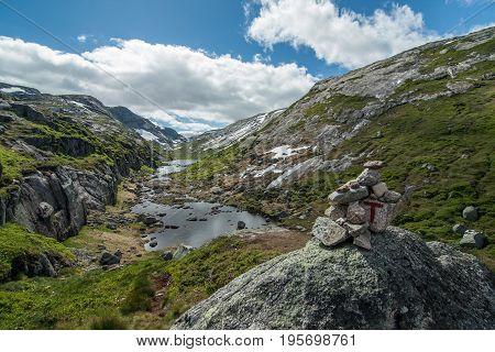 Hiking trail to Kjerag and Kjeragbolten in Norway