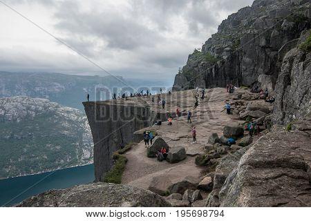 Preikestolen, Hyvlatonnå, Pulpit rock in Norway with a view on  Lysefjordem