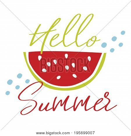 Watermelon in minimalism style vector illustration. Summer poster.