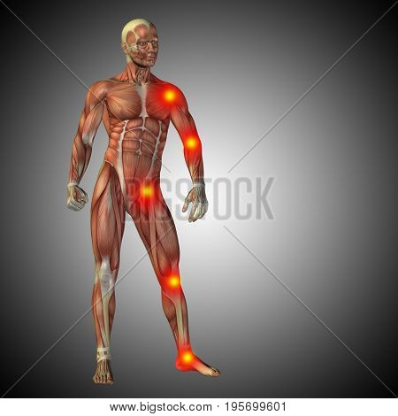 Conceptual  health or medicine 3D illustration of human anatomy body with pain and inflammation, gray gradient background
