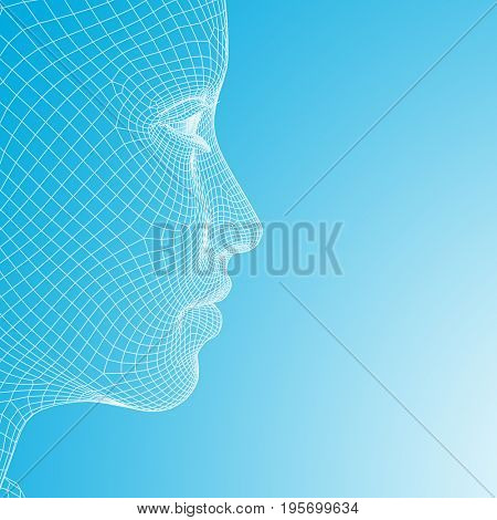 Concept or conceptual 3D illustration wireframe young human female or woman face or head on blue gradient background