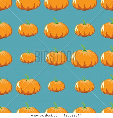 Pumpkin vector seamless pattern. Cartoon vegetable stylish texture. Repeating pumpkin vegetables seamless pattern background for eco bio vegetables design and web