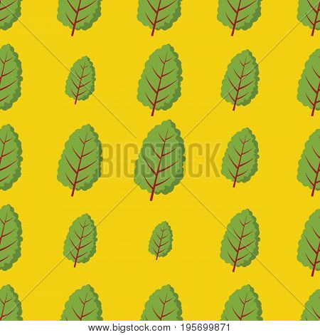 Mangold Beta vulgaris vector seamless pattern. Cartoon vegetable stylish texture. Repeating Mangold Beta vulgaris vegetables seamless pattern background for eco bio vegetables design and web