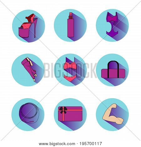 Pole dance elements. Color round icons with shadow. What you need for dance or poledance. EPS 10