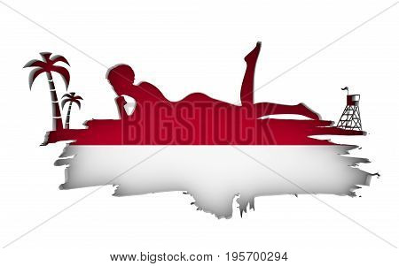 Young woman sunbathing on a beach. Cutout silhouette of the relaxing girl on a grunge brush stroke. Palm and lifeguard tower. Flag of the Indonesia on backdrop. 3D rendering.