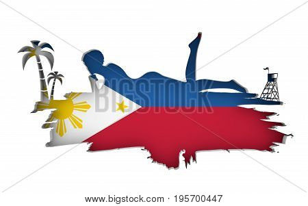 Young woman sunbathing on a beach. Cutout silhouette of the relaxing girl on a grunge brush stroke. Palm and lifeguard tower. Flag of the Philippines on backdrop. 3D rendering.