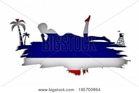 Young woman sunbathing on a beach. Cutout silhouette of the relaxing girl on a grunge brush stroke. Palm and lifeguard tower. Flag of the Thailand on backdrop. 3D rendering.