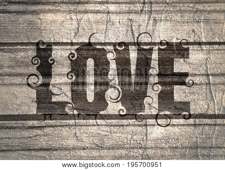 Lettering illustration with love word. Typography poster with abstract ornament of curls. Grunge texture effect
