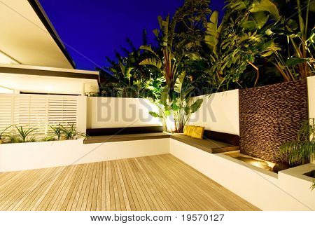 A modern, designer house - with inside/outside living and water feature