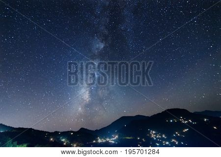 Galaxy or Milkyway as seen in the evening sky at Rinchenpong Sikkim India
