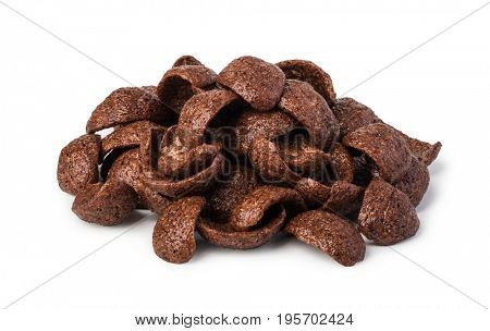 cereal chocolate flakes isolated on white background
