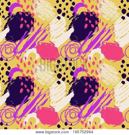 Hand drawn abstract grunge vector seamless pattern. Background painted with ink. Yellow pink violet white color. Grange and school style for kid, children, teen. Bright and summer .