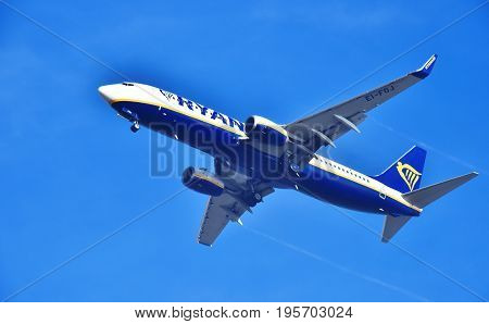 Airplane Of Ryanair Approaching The Airport