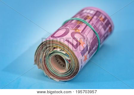 500 Euro Banknote Isolated On Blue Background
