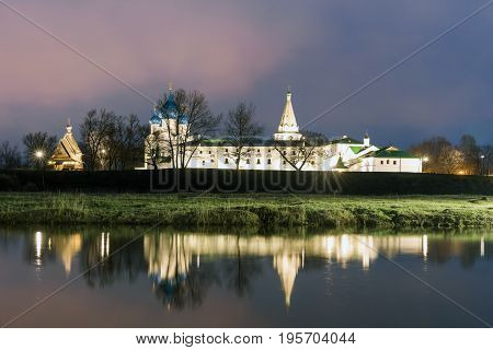 Suzdal, Russia. Nativity Cathedral, the bell tower and Archbishop's chambers of Suzdal Kremlin at night in summer