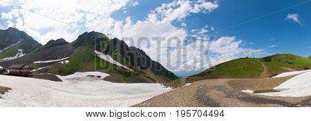 Snow on the mountain plateau