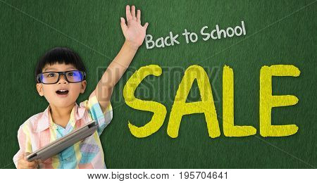 boy holding tablet raise his hand up for Back to School sale