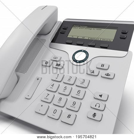 Office Phone - IP Phone technology for business on a white background. 3D illustration, clipping path