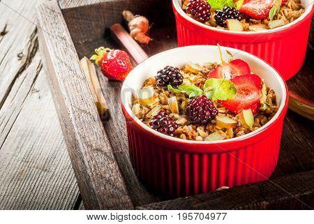 Rhubarb And Berries  Oatmeal Crumble