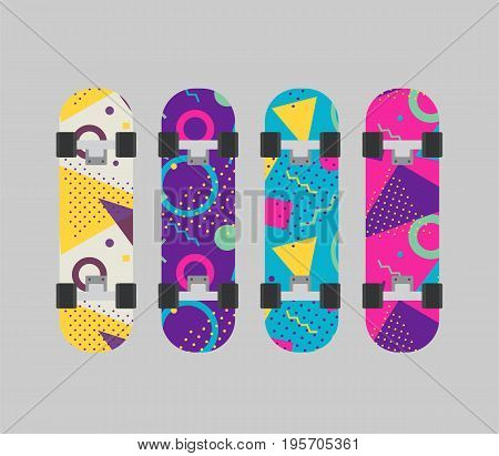 Different skateboard set. Various skate in flat design. Vector stock.