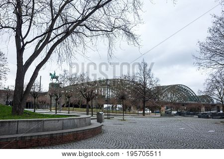 View of embankment in Cologne the largest city in the German federal State of North Rhine-Westphalia and the fourth-largest city in Germany