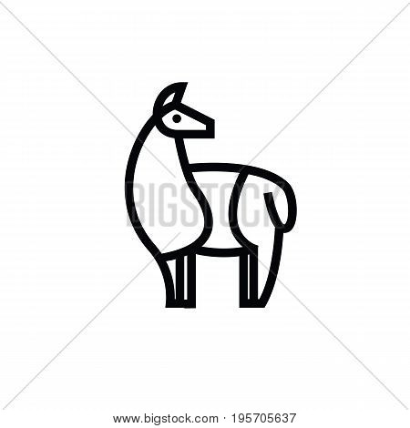 Linear stylized drawing of llama, alpaca or guanaco - for icon or sign template