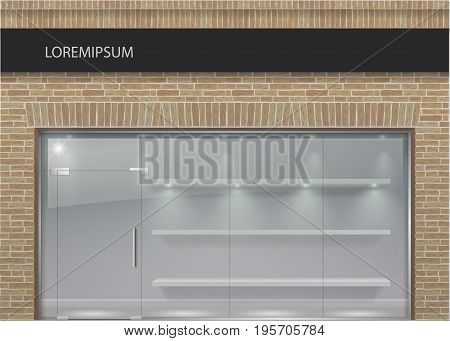 The classical facade is in the loft style of brick with modern showcases of panoramic glass. Wall of a shop, cafe, office. Vector graphics