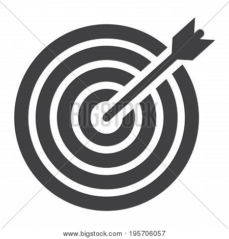 Target solid icon, business and dartboard, vector graphics, a glyph pattern on a white background, eps 10.