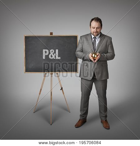 PL text on blackboard with businessman and golden egg