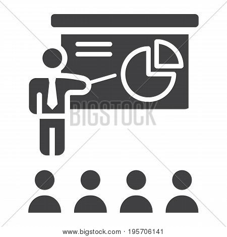Training presentation solid icon, business and teacher, vector graphics, a glyph pattern on a white background, eps 10.
