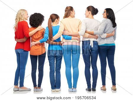 diversity, race, ethnicity and people concept - international group of happy smiling different women hugging over white from back