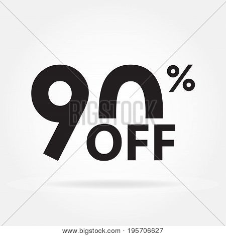 90% off. Sale and discount price sign or icon. Sales design template. Shopping and low price symbol. Vector illustration.