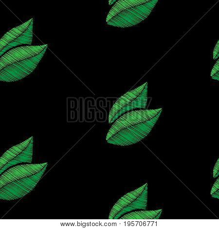 Seamless pattern with green leaf embroidery stitches imitation. Embroidery background with leaf. Embroidery green color leaf seamless pattern.