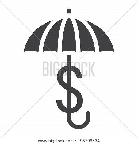 Business Insurance solid icon, umbrella and dollar sign, vector graphics, a glyph pattern on a white background, eps 10.
