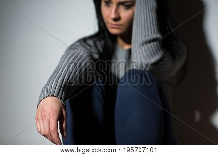people, grief and domestic violence concept - unhappy crying woman