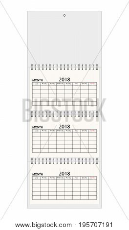 Realistic quarterly calendar on three spirals card for your design. Mock up vector illustration. Blank wall calendar for three months. Empty space for Your text.