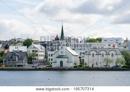 The Reykjavík Free Church (Frikirkjan i Reykjavik) at lake Tjornin