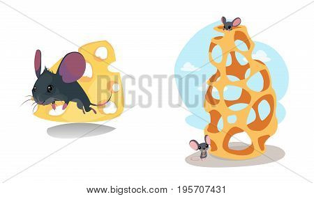 Digital vector funny cartoon cheese labyrinth with happy mice on top and at the bottom, abstract flat style