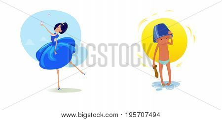 Digital vector funny comic cartoon fairytale princess girl in blue dress dancing with butterflyes at a ball, royal shoes and collar, small kid with a blue buck on head, hand drawn illustration