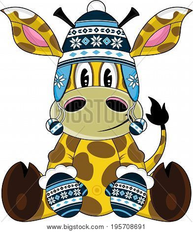 Adorably Cute Cartoon Giraffe in Wooly Hat and Gloves