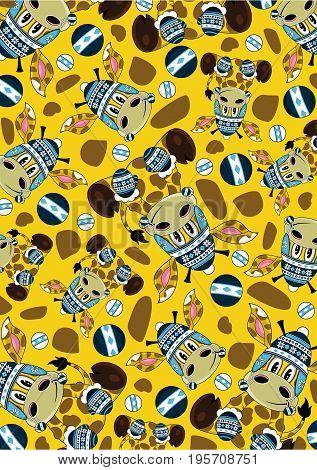 Bobble Hat Giraffe Pattern.eps