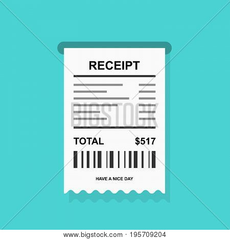 Receipt simple icon with barcode - invoice