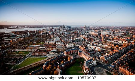 View of Liverpool City with the Merseyside River poster