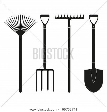 Shovel or spade rake and pitchfork icons isolated on white background. Gardening tools design. Vector illustration.