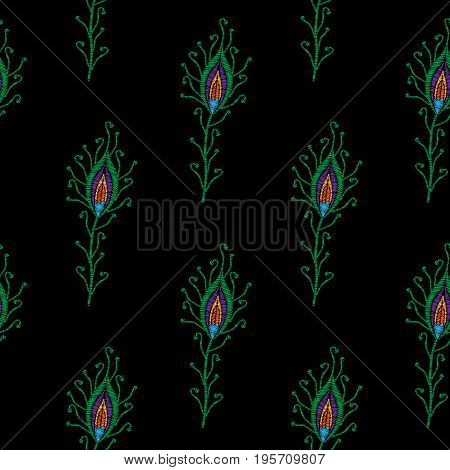 Seamless pattern with little peacock feathers embroidery stitches imitation. Template for fabric textile or print. Fashion peacock feathers embroidery.