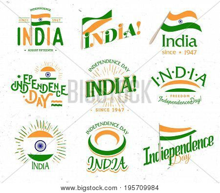 Independence day of India from the British Empire set of vector retro style logos. Universal Collection of Logos for Public Holidays in the Indian Republic.