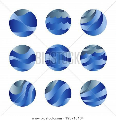 Abstract isolated blue color ocean waves and sky clouds logos set. Water stylized vector logotypes collection. Round shape liquid set