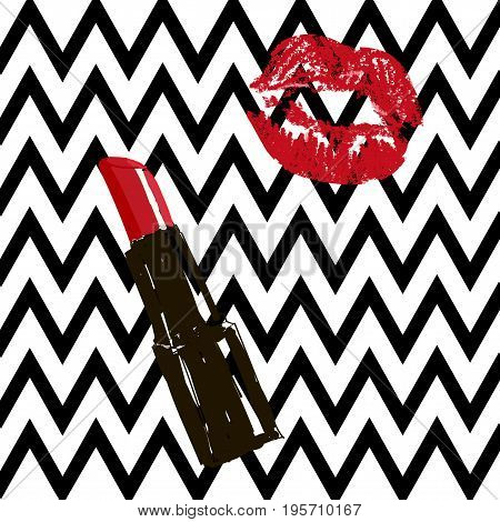 Beauty Hand-drawn Red Lipstick And Imprint Silhouette Of A Kiss On A Striped Black And White Backgro
