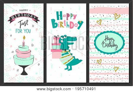 Happy birthday greeting cards and party invitation templates .Vector illustration